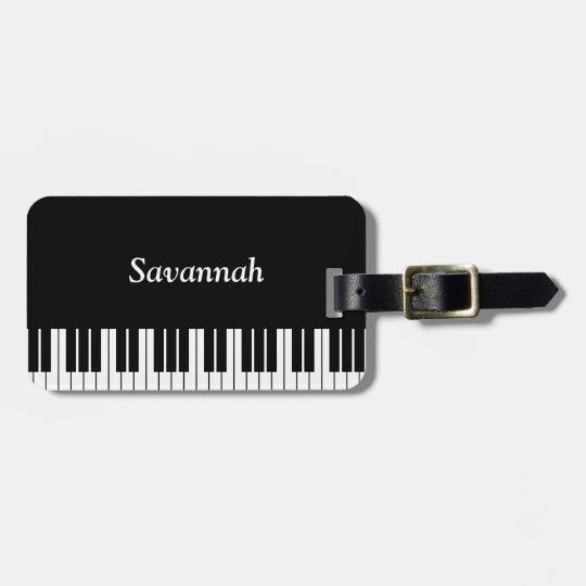 Piano Keyboard Keys, Black and White Luggage Tag