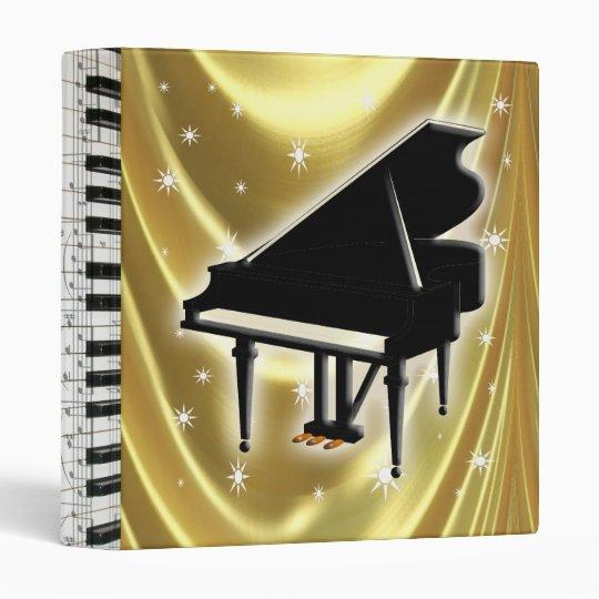 Satin 3 Binder Ring Notes Music Piano Gold Keyboard CxWreBQdEo