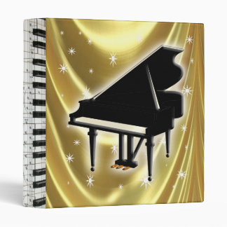 Piano Keyboard Music Notes Gold Satin Binder