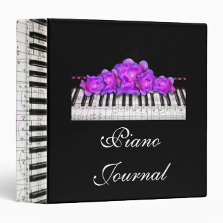 Piano Keyboard Purple Roses Music Notes Vinyl Binder