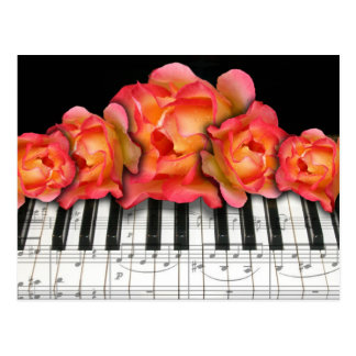 Piano Keyboard Roses and Music Notes Postcard