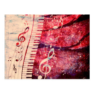 Piano Keyboard with Music Notes Grunge09 Postcard