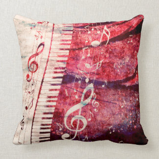 Piano Keyboard with Music Notes Grunge09 Throw Pillow