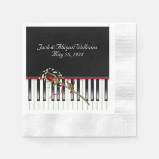 piano keyboard with red rose anniverary paper napkin