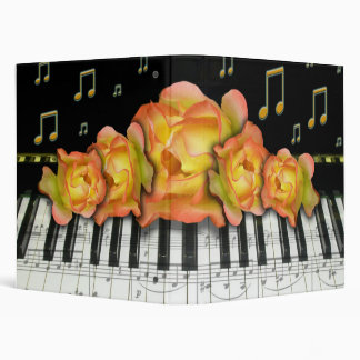 Piano Keyboard Yellow Organe Roses and Music Note Vinyl Binders