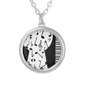 Piano Keyhole Silver Plated Necklace