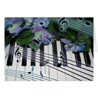 Piano Keys and Flowers Card