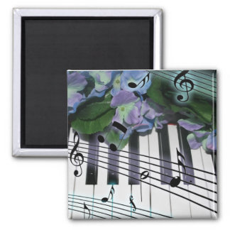 Piano Keys and Flowers Magnet
