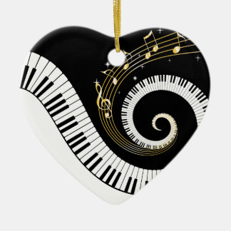 Piano Keys and Gold Music Notes Ceramic Heart Ornament