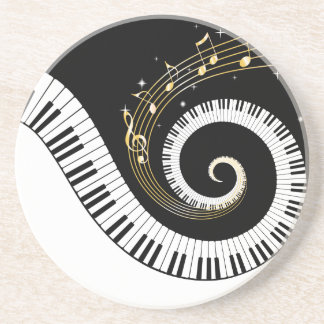 Piano Keys and Gold Music Notes Coaster