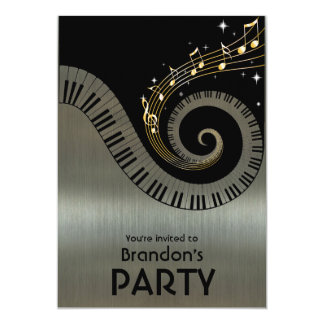 "Piano Keys and Gold Music Notes Party 5"" X 7"" Invitation Card"