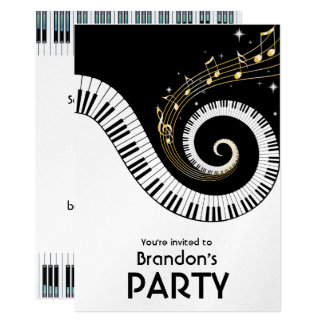 """Piano Keys and Gold Music Notes Party 5"""" X 7"""" Invitation Card"""