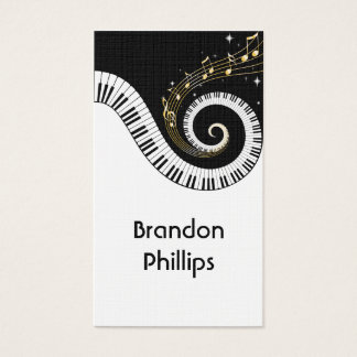 Piano Keys and Gold Notes Linen Business Cards