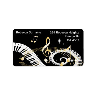 Piano Keys and Golden Music Notes Label