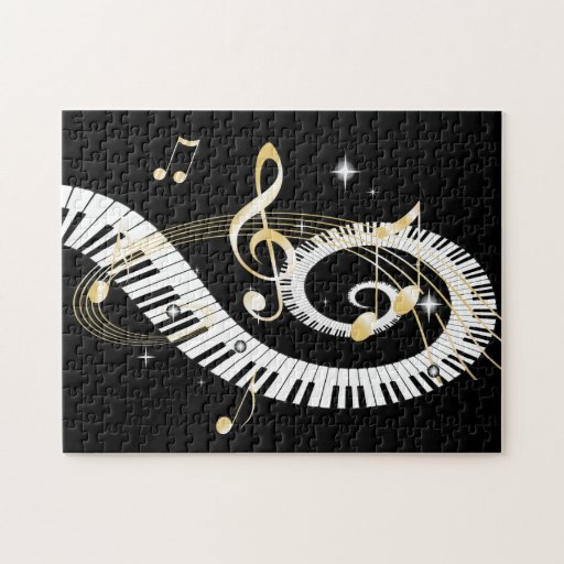 Piano Keys and Golden Music Notes Jigsaw Puzzles