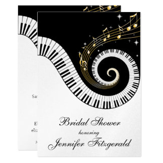 """Piano Keys and Golden Musical Notes Bridal Shower 5"""" X 7"""" Invitation Card"""