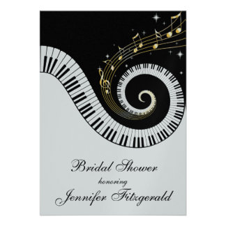 Piano Keys and Golden Musical Notes Bridal Shower Personalized Invitation