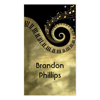 Piano Keys and Music Notes Golden Business Card