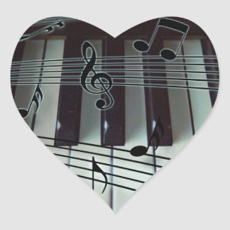 Piano Keys and Music Notes Heart Sticker