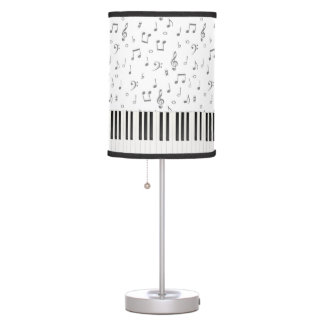 piano keys and music notes table lamp
