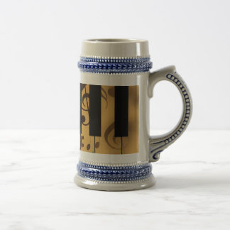 Piano Keys and Musical Notes Beer Stein