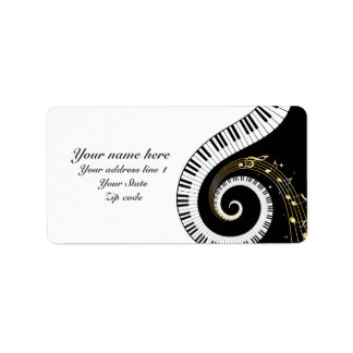 Piano Keys and  Musical Notes Label