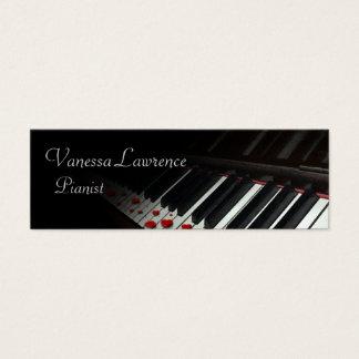 Piano keys black elegant skinny mini business card