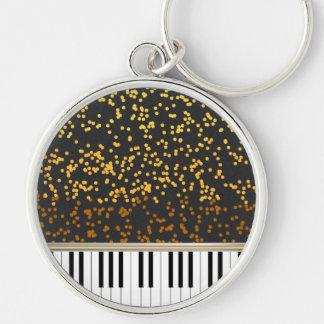 Piano Keys Gold Polka Dots Pattern Keychain