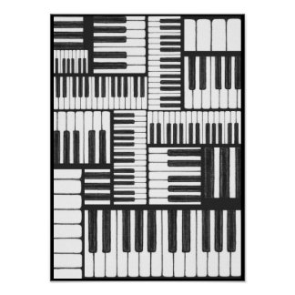 Piano Keys in Charcoal Music Art Print