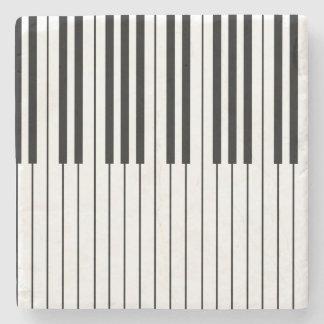 Piano Keys ivory white and black Stone Coaster