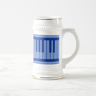 Piano Keys Light Blue Pattern Beer Stein