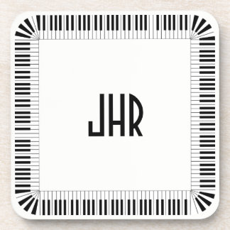 Piano Keys Music Border Optional Initials Set of 6 Coaster