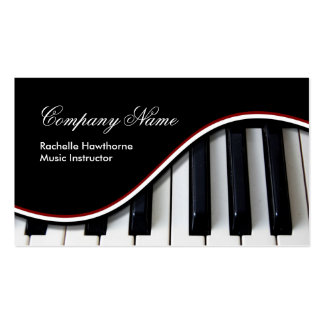 Piano Keys Music Business Cards red