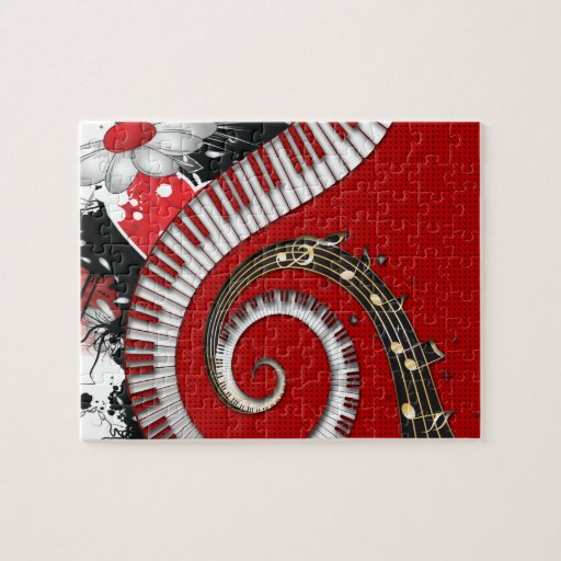 Piano Keys Music Notes Grunge Floral Swirls Jigsaw Puzzles