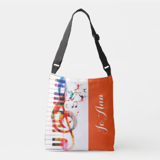 Piano Keys Music Notes & Hummingbirds Crossbody Bag