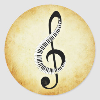 Piano Keys on a Music Clef Classic Round Sticker
