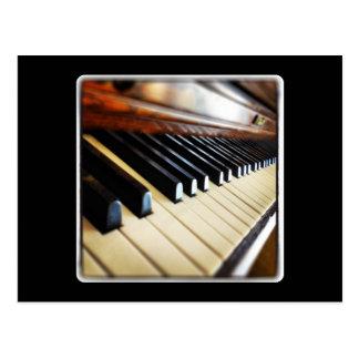 Piano Keys on Black Postcard
