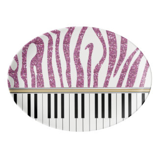 Piano Keys Pink Glitter Zebra Print Porcelain Serving Platter