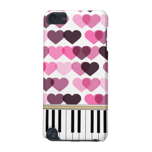 Piano Keys Pink Love Hearts Pattern iPod Touch 5G Covers