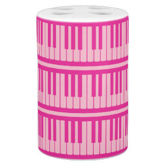 Piano Keys Pink Magenta Pattern Bathroom Set
