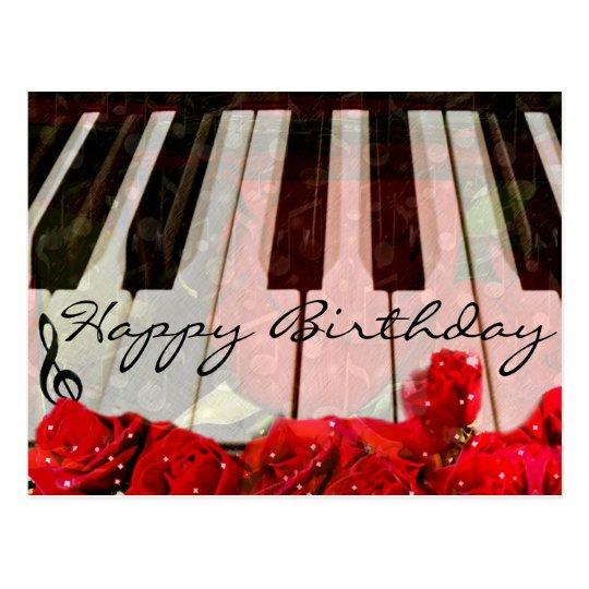 Piano Keys,Roses & Music Notes_ Postcard