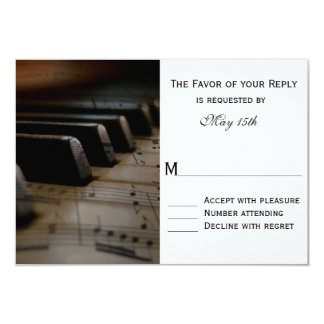 Piano Keys Sheet Music Wedding RSVP Cards
