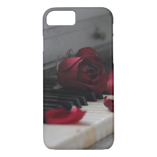 Piano Keys with a Red Rose iPhone 8/7 Case