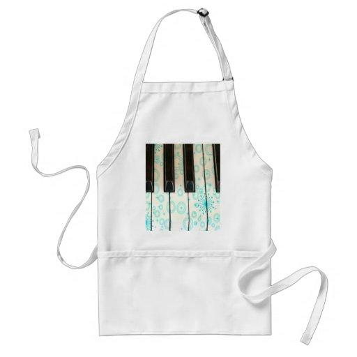 Piano Keys with Aqua Circles Aprons