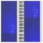 Piano Keys with Blue effect musical notes Fabric