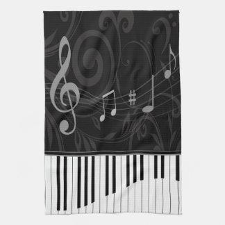 Piano lunatique et notes musicales serviette pour les mains