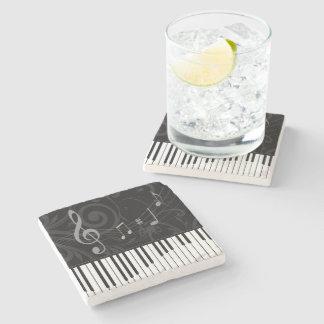 Piano lunatique et notes musicales sous-bock en pierre