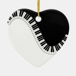 PIANO MUSIC CERAMIC HEART ORNAMENT