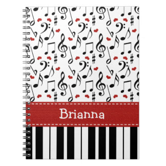 Piano Music Note Spiral Notebook Journal
