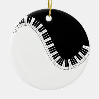 PIANO MUSIC ROUND CERAMIC ORNAMENT